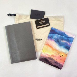 Shinola Gray Leather Journal Cover 80pg Notebook